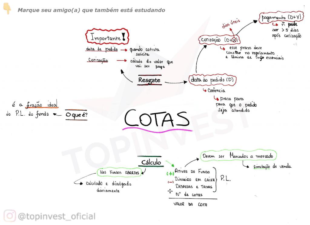 Mapa Mental Cotas em Fundos de Investimento, Organograma Cotas em Fundos de Investimento